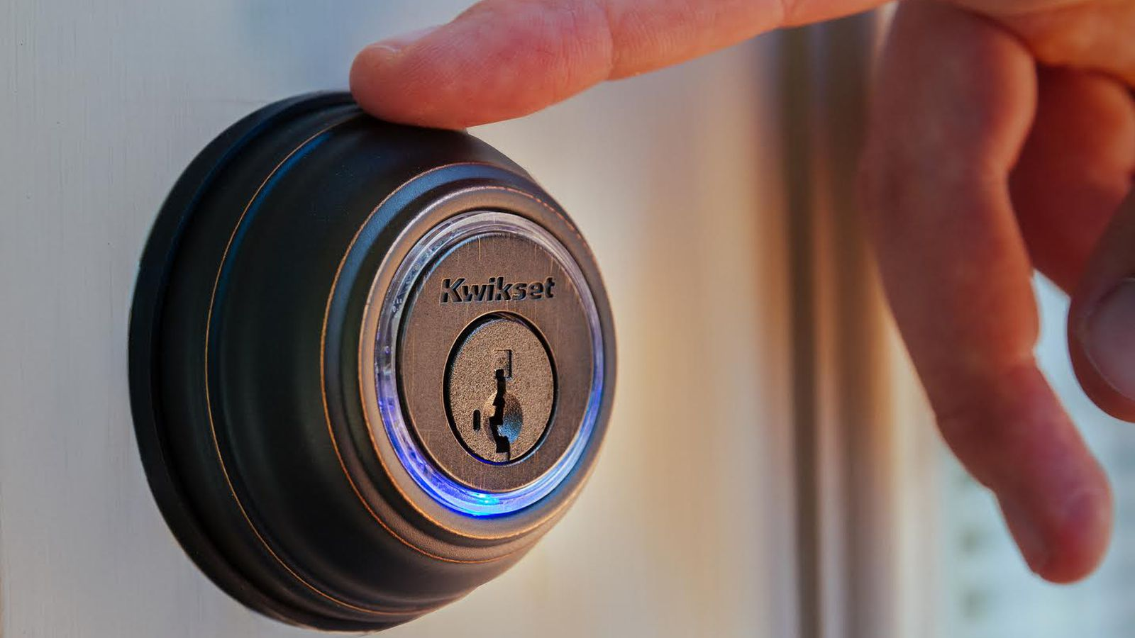 Man touching smart lock in Toronto