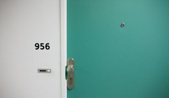 Close up of an apartment door