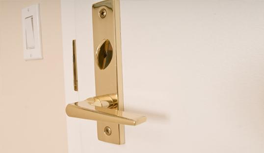 Close up of front door handleset lock