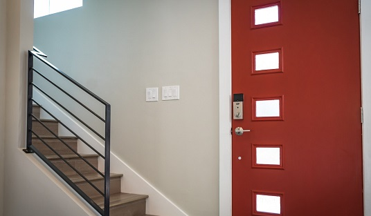 Close up of a red front door