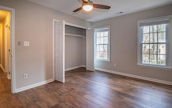 Hollow-core door installed in closet