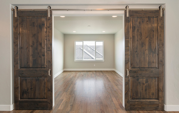 Barn wooden doors stained dark brown