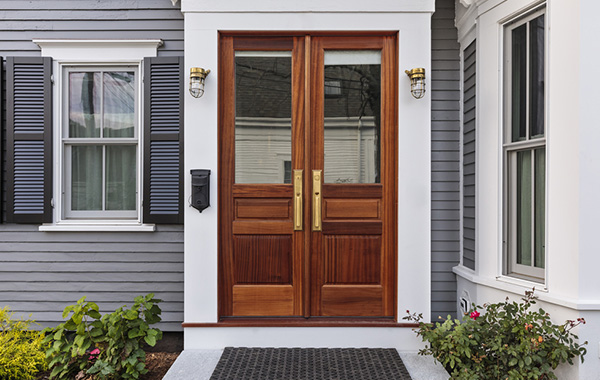 Red mahogany wood-stained door