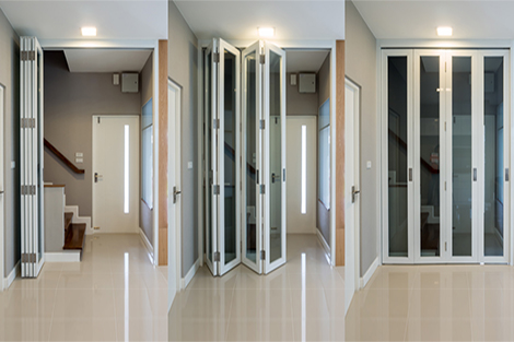Folding doors opening to a staircase