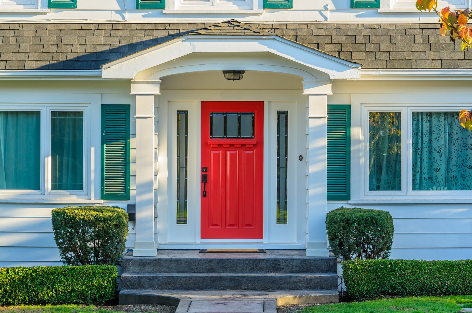 A red front door of a house