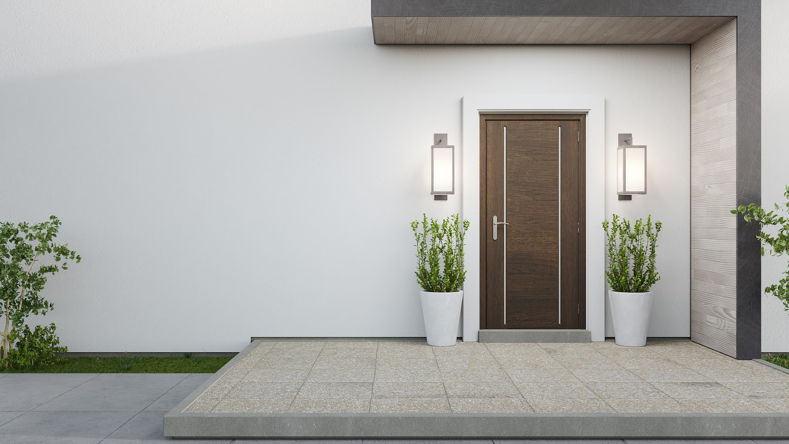 Solid wooden front door with plants on both sides