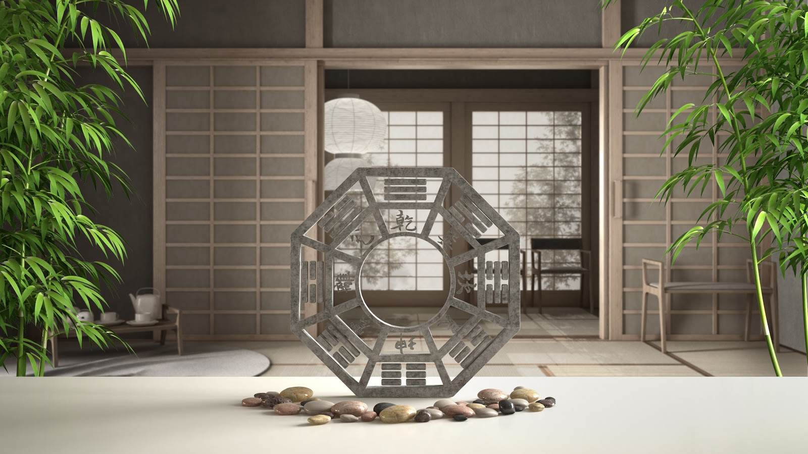 A front door with a decorative stone bagua in front of it