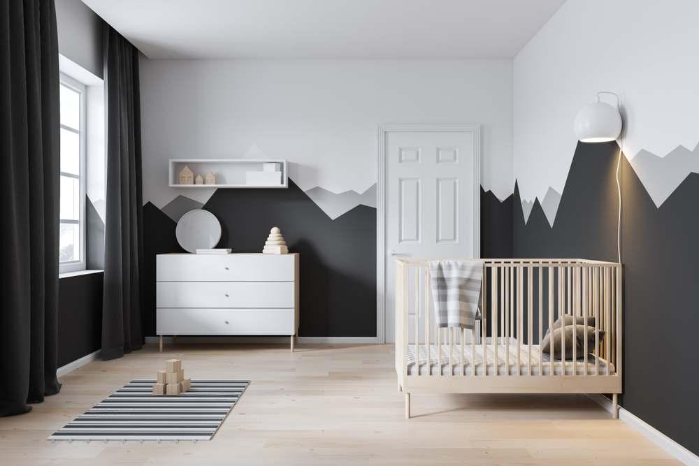 Modern kids bedroom with white door