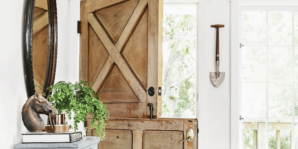 Unpainted Dutch door in a country style house
